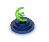 Euro sign on podium. 3D icon on white background poster