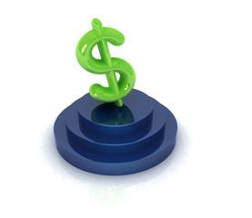 Dollar sign on podium. 3D icon on white background