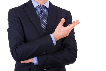 Businessman gesturing with hand.