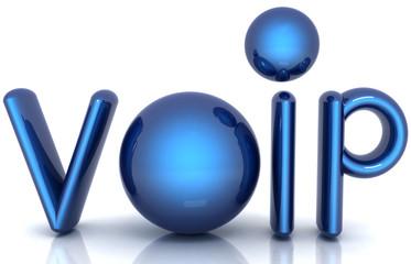 Blue metallic word VoIP