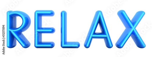 "Blue word ""Relax"" isolated on white"