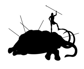 Ancient people killed mammoth isolated on a white background
