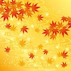 秋 紅葉 流水 背景