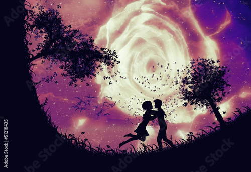 Couple silhouette and rose in the sky