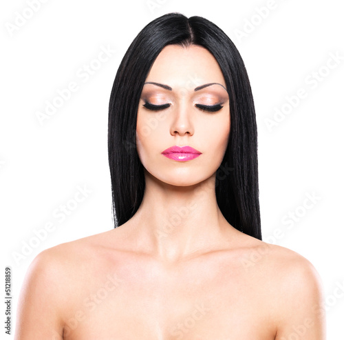 Beauty portrait of the pretty woman with closed eyes
