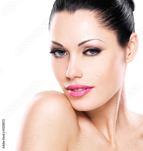 Beautiful face of caucasian woman  with pink lips