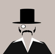 man with monocle and top hat