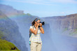 View of woman photographer. Iceland