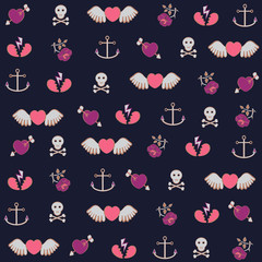 Backround with hearts and anchors