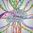 Gehirn und Information / Informationsflut - 3D Illustration