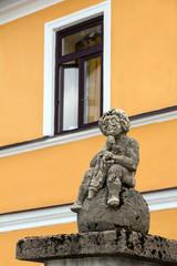 Medieval sculpture on a street of Frymburk, Czech Republic.