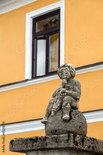 Medieval sculpture on a street of Frymburk, Czech Republic.