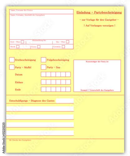 fototapete krankenschein - party einladungskarte - einladung, Einladungsentwurf