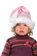 little girl with Santa Claus- cap