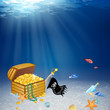Vector Underwater Treasure Chest and Pirate Elements