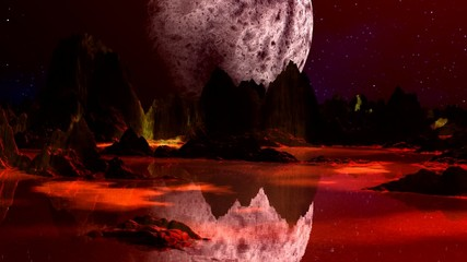 Red planet and huge moon