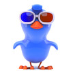 Blue bird in 3d glasses