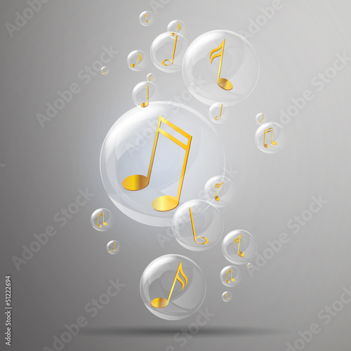 Vector Bubbles with Golden Music Notes in it