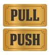pull and push -  gold door signs