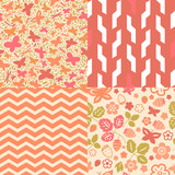 Flowers and butterflies seamless patterns collection
