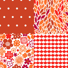 Flowers leaves and abstract seamless patterns collection