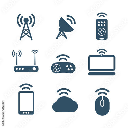 Wireless equipment icons collection isolated on white