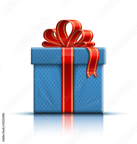 Blue gift box with a bow