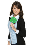 Young woman holding shamrock leaf