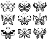 Set of silhouettes of butterflies