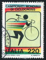 Bicyclist carrying bike