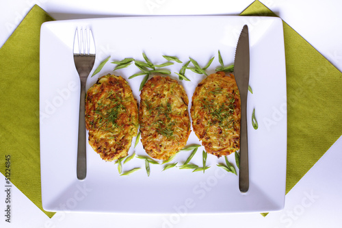 vegetarian vegetable pancakes on a white background