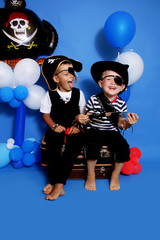 Two pirate on a blue background