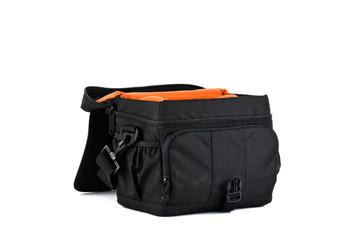 Open, black photo bag