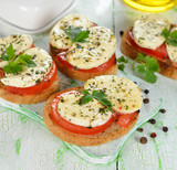 Bruschetta with tomatoes and mozzarella
