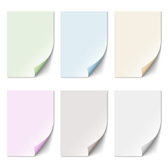 Set of empty paper sheet in pastel colors