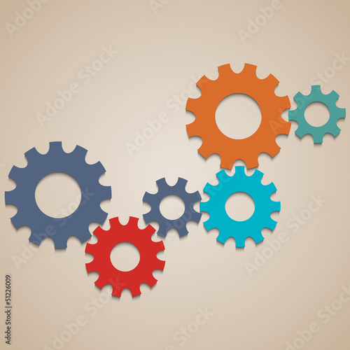 Colored abstract gear wheels