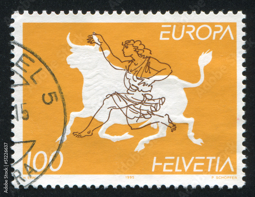 Zeus disguised as bull abducting Europa