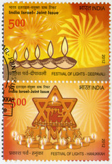 INDIA - 2012: shows Festival of Lights, Deepavali and Hanukkah