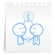 businessman check hand cartoon_on paper Note