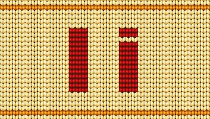 Vector Red knitted alphabet. Letter I