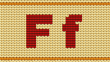 Vector Red knitted alphabet. Letter F