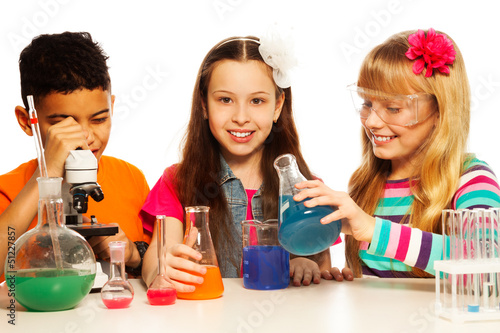 Three kids and chemistry lesson