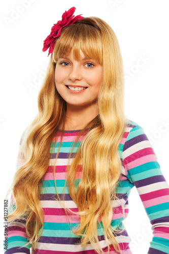 Cute smiling blond 10 years old girl