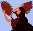 Spanish girl with two fans flamenco, vector