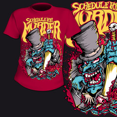 T-Shirt Print Comic Skull