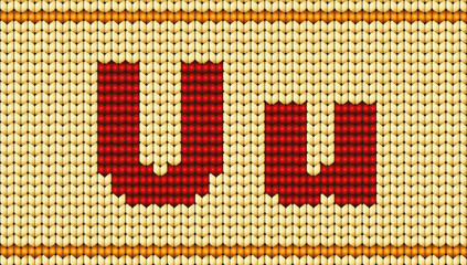 Vector Red knitted alphabet. Letter U