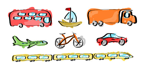 Set of various transports - illustration