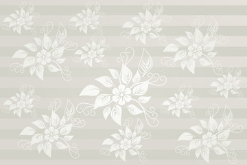 Silver horizontal floral elements wallpaper
