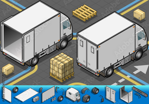 isometric container refrigerator truck in rear view