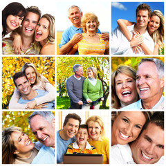 Happy family collage background.
